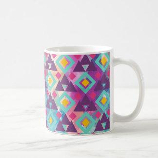 Colorful vibrant diamond shape boho batik pattern coffee mug