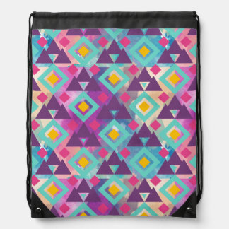 Colorful vibrant diamond shape boho batik pattern drawstring bag