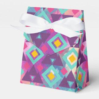 Colorful vibrant diamond shape boho batik pattern favor box