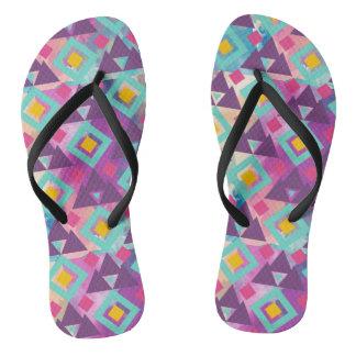 Colorful vibrant diamond shape boho batik pattern flip flops