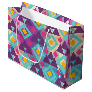 Colorful vibrant diamond shape boho batik pattern large gift bag