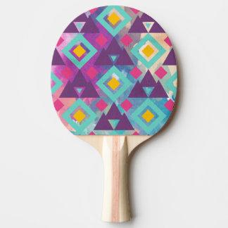 Colorful vibrant diamond shape boho batik pattern ping pong paddle