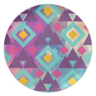 Colorful vibrant diamond shape boho batik pattern plate