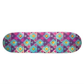 Colorful vibrant diamond shape boho batik pattern skateboard deck