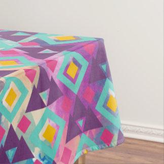 Colorful vibrant diamond shape boho batik pattern tablecloth