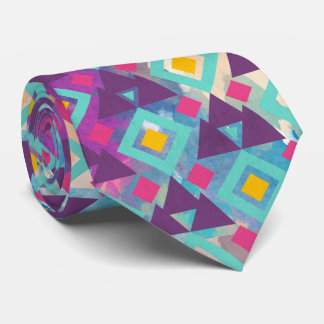 Colorful vibrant diamond shape boho batik pattern tie