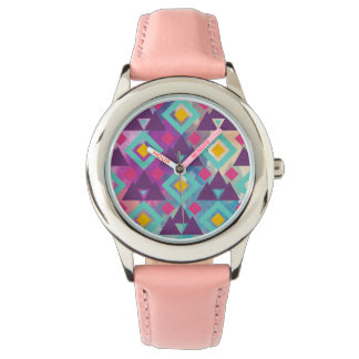Colorful vibrant diamond shape boho batik pattern wristwatch