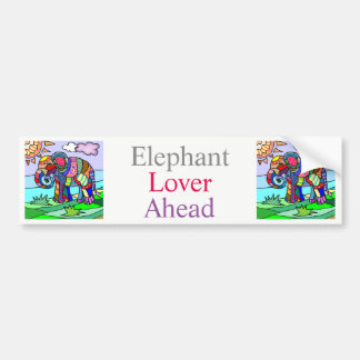 Colorful Vibrant Folk Art Abstract Flower Elephant Bumper Sticker