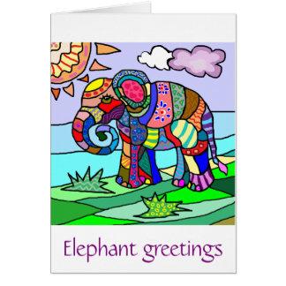 Colorful Vibrant Folk Art Abstract Flower Elephant Card
