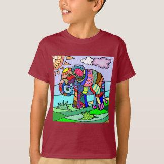 Colorful Vibrant Folk Art Abstract Flower Elephant T-Shirt