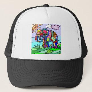 Colorful Vibrant Folk Art Abstract Flower Elephant Trucker Hat