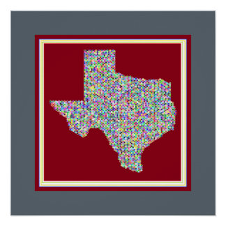 Colorful Vibrant Map of Texas Poster