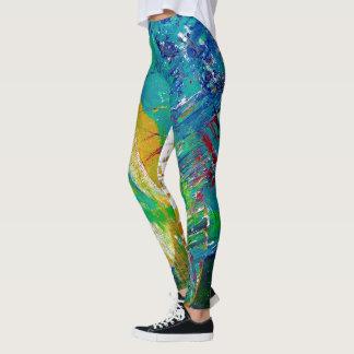 Colorful vibrant original painted art by TQuinn Leggings