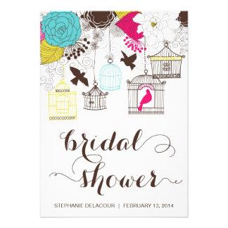 Colorful Vintage Birdcage Bridal Shower Invitation