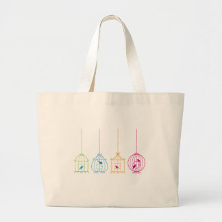 Colorful vintage birdcages with cute birds large tote bag