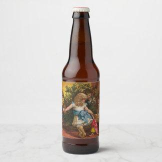 Colorful vintage Christmas games Beer Bottle Label