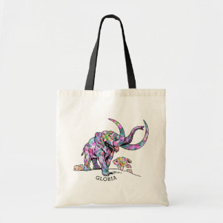 Colorful Vintage Elephant Illustration Tote Bag