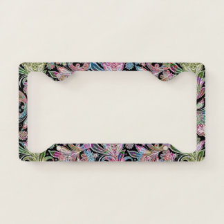 Colorful Vintage Ethnic Paisley Pattern License Plate Frame