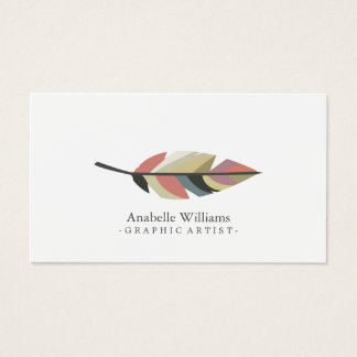 Colorful Vintage Feather Business Card