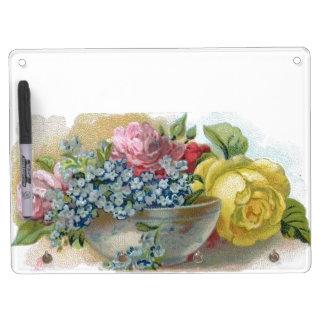 Colorful Vintage Floral Dry Erase Board