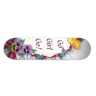 Colorful Vintage Floral Go Sissy Girly Skateboard
