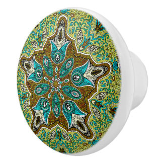 Colorful Vintage Floral Lace Geometric Pattern Ceramic Knob
