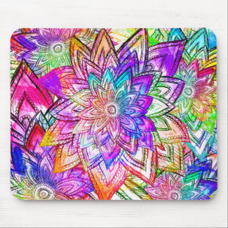 Colorful Vintage Floral Pattern Drawing Watercolor Mouse Pad