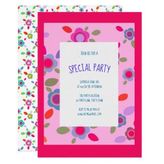 Colorful vintage flowers in pink card