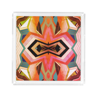 Colorful Vintage Geometric Vibes Acrylic Tray