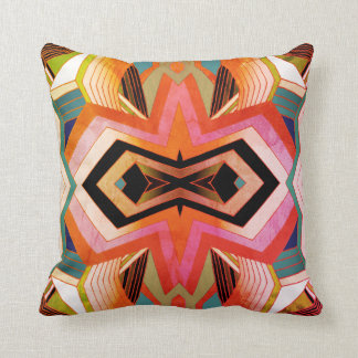 Colorful Vintage Geometric Vibes Throw Pillow