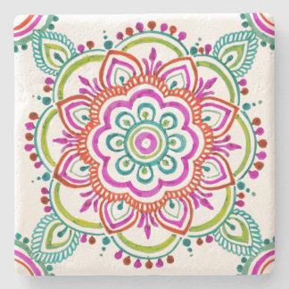 colorful vintage gypsy floral design coaster