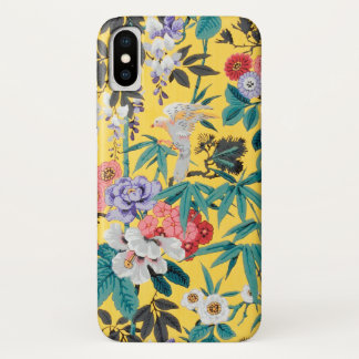 Colorful Vintage Japanese Bird Floral Pattern iPhone X Case