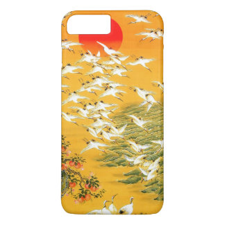Colorful Vintage Japanese Cranes at Sunset iPhone 7 Plus Case