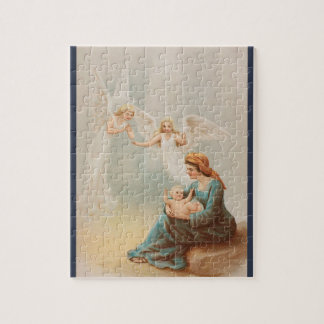 Colorful vintage Mary with baby Jesus puzzle