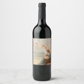 Colorful vintage Mary with baby Jesus Wine Label