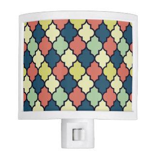 Colorful Vintage Moroccan Quatrefoil Pattern Night Lite