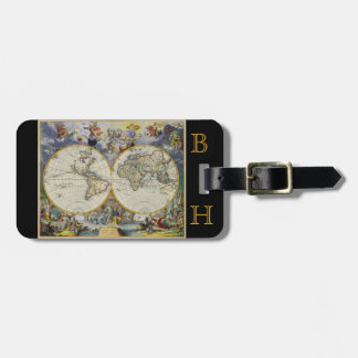 Colorful Vintage Old World Map Black Monogram Luggage Tag