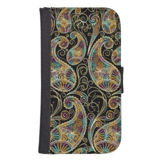 Colorful Vintage Ornate Paisley Design Galaxy S4 Wallet Case