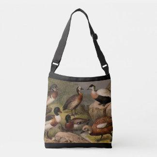 Colorful vintage painting of ducks crossbody bag