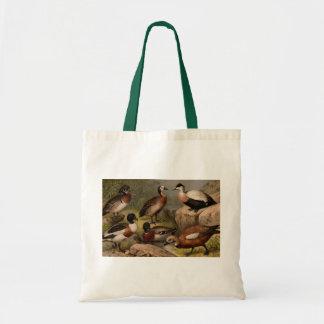 Colorful vintage painting of ducks tote bag