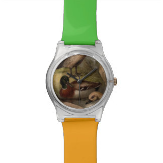 Colorful vintage painting of ducks watch