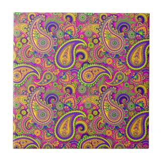 Colorful Vintage Paisley Pattern Tile