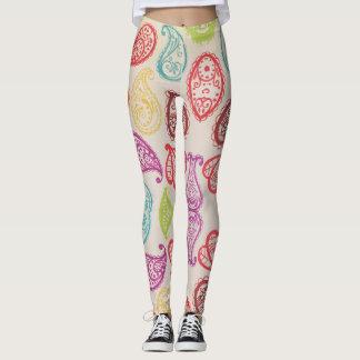 Colorful Vintage Paisley Print Leggings