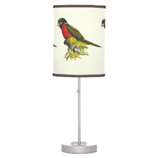 Colorful vintage parrot illustration desk lamp