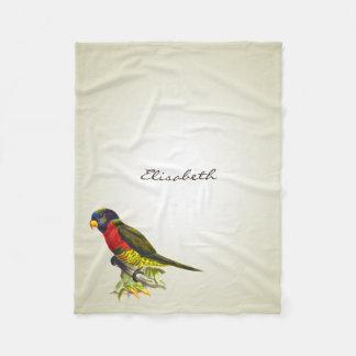 Colorful vintage parrot illustration fleece blanket