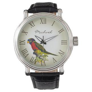 Colorful vintage parrot illustration name watch