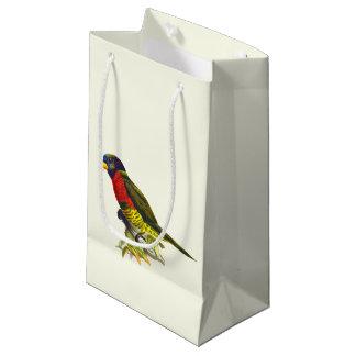 Colorful vintage parrot illustration small gift bag