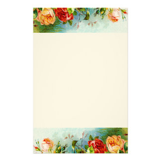 Colorful Vintage Roses Stationery