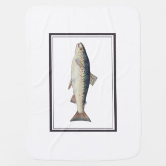 Colorful vintage salmon illustration receiving blankets