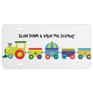 Colorful Vintage Train License Plate